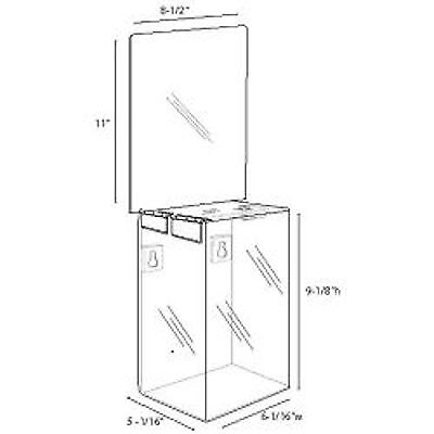 6x9x5 Clear Acrylic Locking Ballot Box and Header  Lot of 1  DS-SBA-695H-1