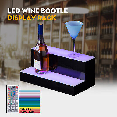 16 2 Step Tier Led Lighted Back Bar Glowing Liquor Bottle Display Shelf Stand