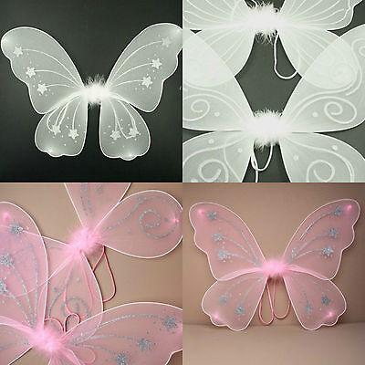 Large Glitter Fairy Angel Wings Pink White Glitter Women Hen Night Fancy Dress (Glitter Womens Kostüme)