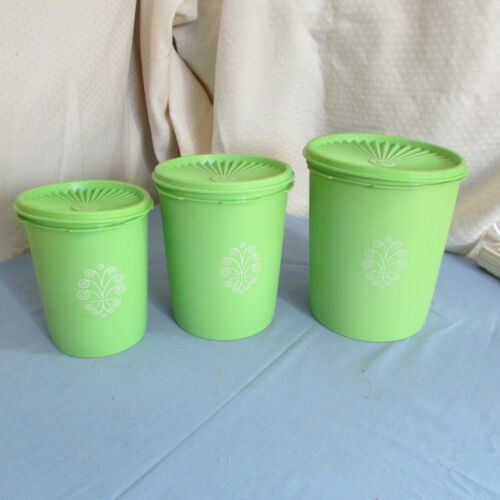 Vintage Tupperware Lime Green Canister Set Of 3