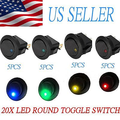 20x Bgry Led Dot Light 12v 20a Round Rocker Onoff Spst Toggle Switch For Car