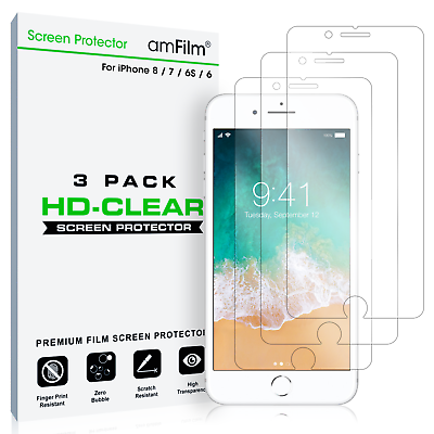 amFilm iPhone 8 7 6S 6 Screen Protector HD Clear Protective