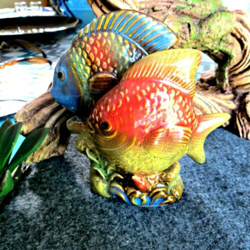 Colorful tropical fish figurine statue_table top beach decor_vintage beach decor