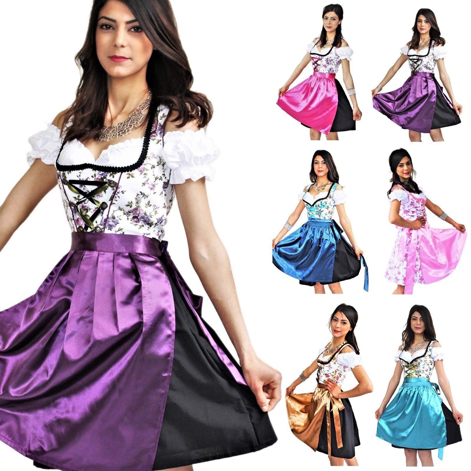 Dirndl Trachtenkleid 3 Teiliges Set Oktoberfest Wiesn Größen Gr 34 - 54 Kleid