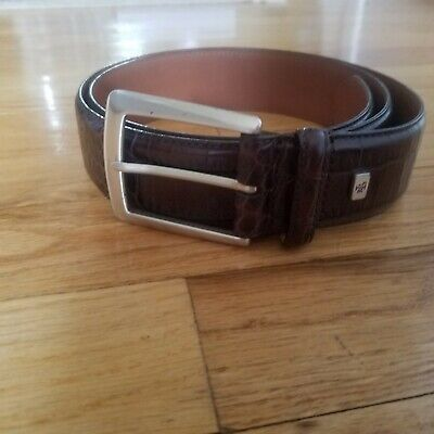 NWT RALPH LAUREN Brown Italian Leather  Alligator Embossed  Belt XL