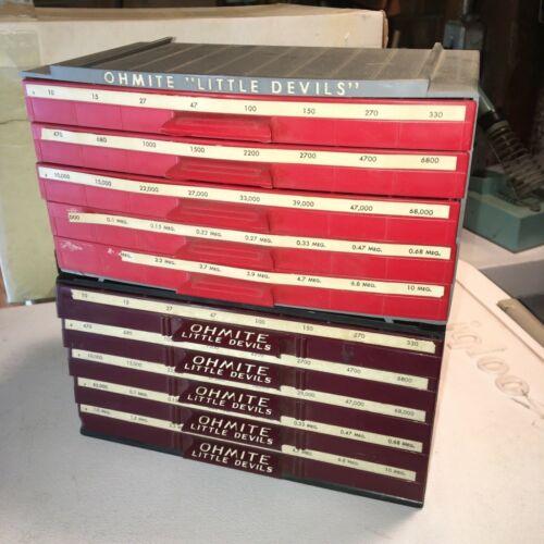 2 Vintage Ohmite Little Devils Resistor~Display~Drawer~Storage Case~Bakelite