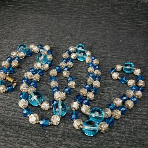 """Antique Long Art Deco Bohemian Aqua Silver Foil Faceted Glass Bead Necklace 50"""""""