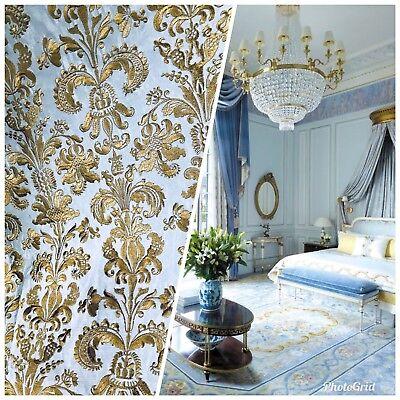 Blue Taffeta (SWATCH Taffeta Drapery Fabric Floral Embroidery Blue And Gold-)