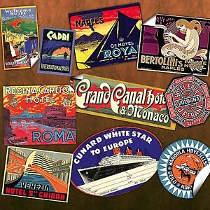 30 Reproduction vintage LUGGAGE LABEL STICKERS - DIY decorate old suitcase/trunk