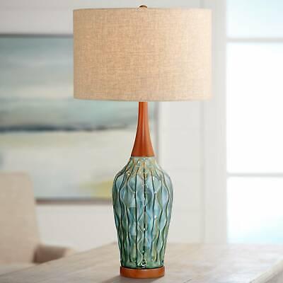 Mid Century Modern Table Lamp Ceramic Blue Wood for Living R