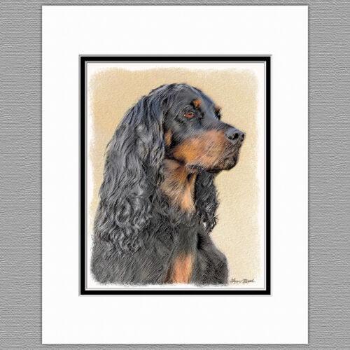 Gordon Setter Dog Original Art Print 8x10 Matted to 11x14