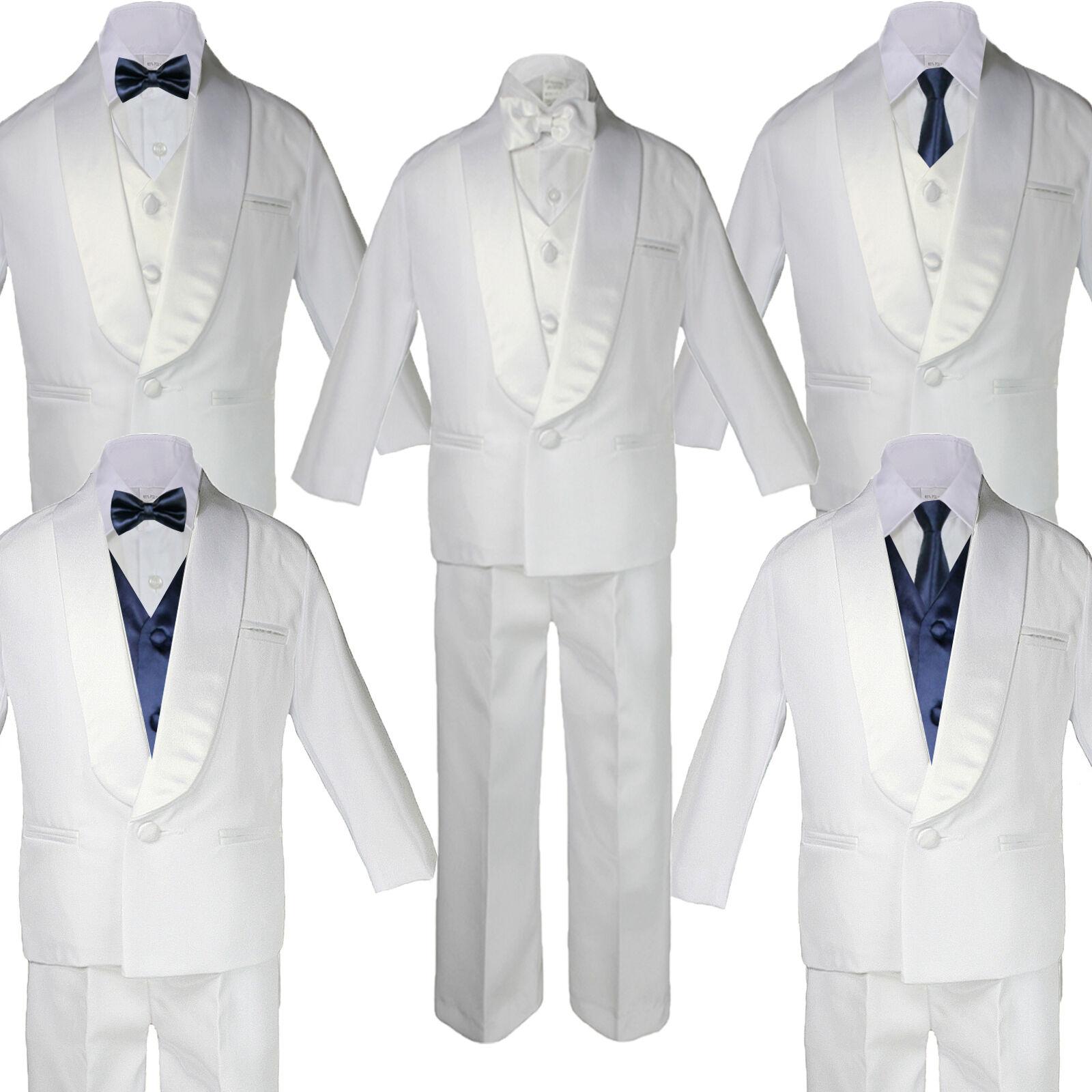 5-7pc Baby White Satin Shawl Lapel Suits Tuxedo Navy Blue...
