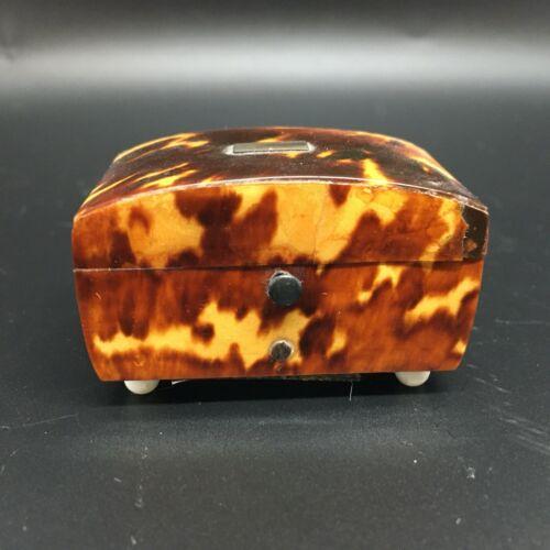 Antique Miniature Box Faux Tortoiseshell Push Button Label Thomas Lund of London