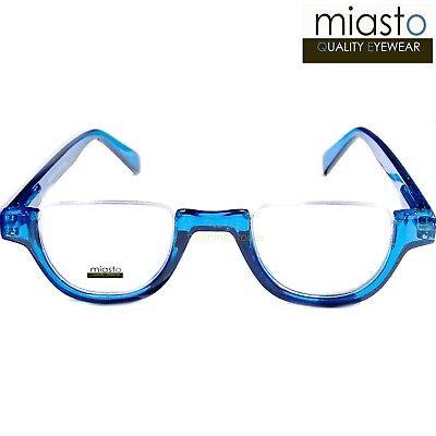 MIASTO TOP RIMLESS HALF RIM MOON ROUND OVAL READERS READING GLASSES~MEDIUM (Large Rimless Glasses)