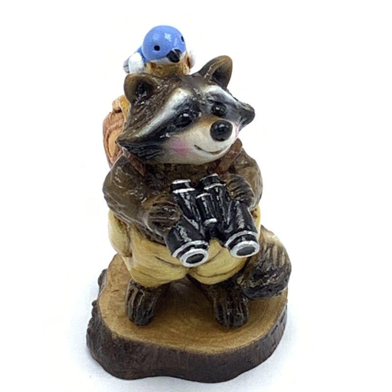 Wee Forest Folk Miniature Figurine Raccoon Bird Watcher RC 3s 174 of 365