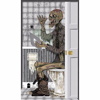 Indoor & Outdoor Halloween Door Cover - Zombie Bathroom