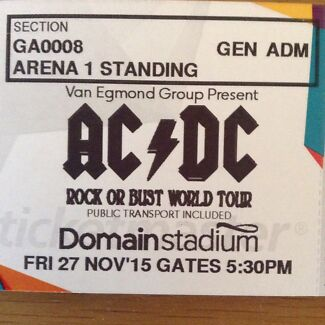 AC/DC Tickets Arena standing Nov 27 Como South Perth Area Preview