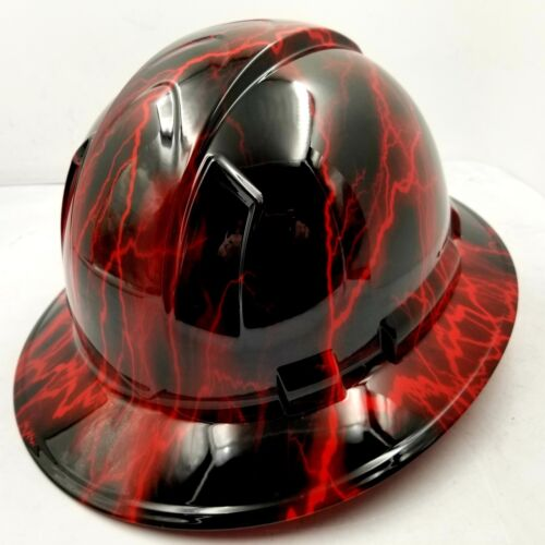 Hard Hat custom hydro dipped , OSHA approved FULL BRIM, CANDY RED LIGHTNING BOLT 3