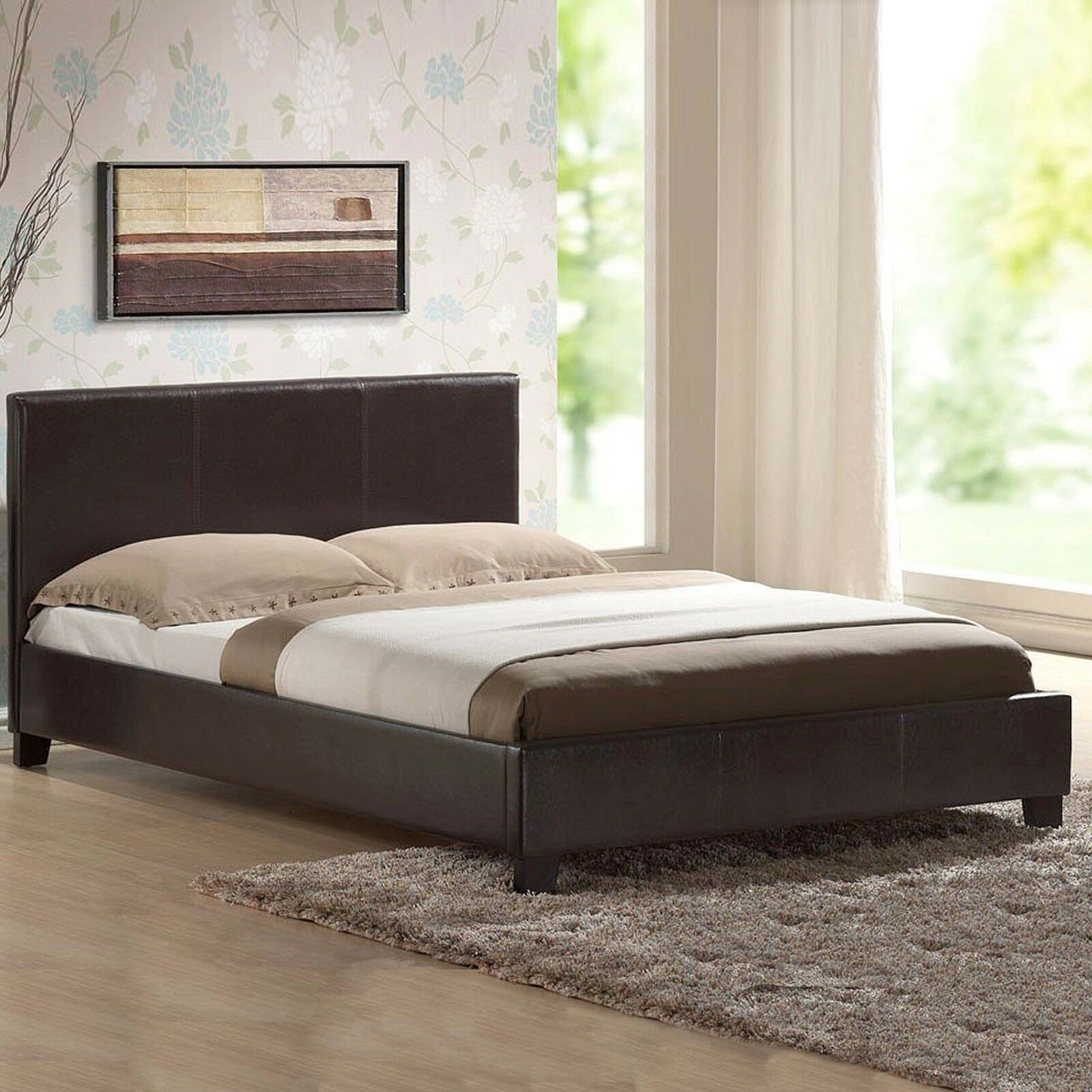 NEW BED IN A BOX-LEATHER BED BLACK-BROWN- With MEMORY FOAM-ORTHOPAEDIC  MATTRESS