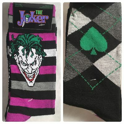 Batman Socks (2 Pair DC Comics Joker Men's Crew Socks Shoe 6-12 Sock 10-13 Batman Gift (L3))