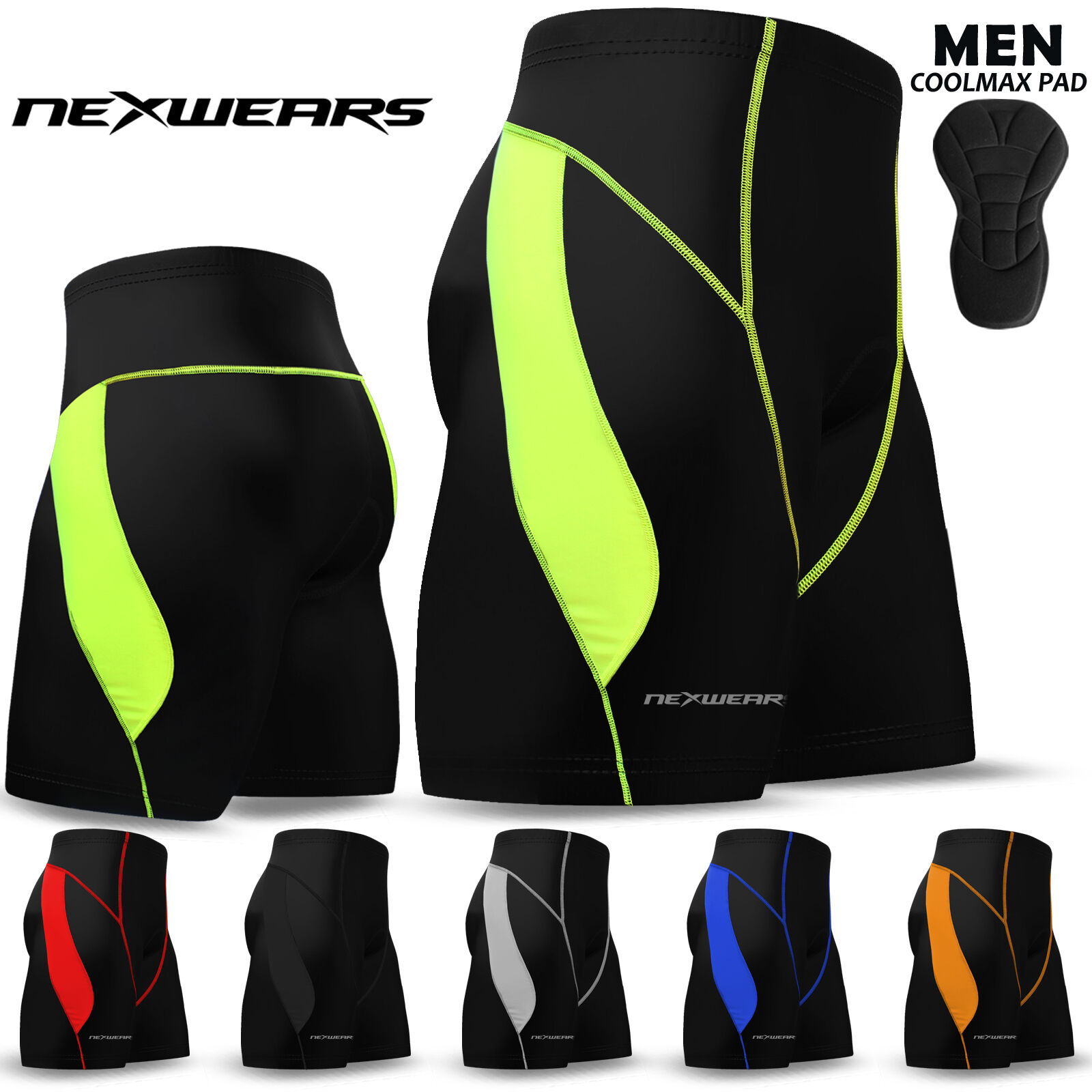 Mens Cycling Shorts Coolmax Compression Padded MTB Bicycle B