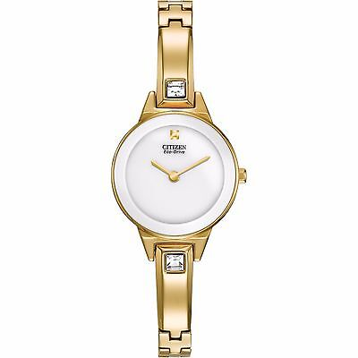 Citizen Eco-Drive Women's EX1322-59A Silhouette Crystal Yellow Gold Bangle Watch