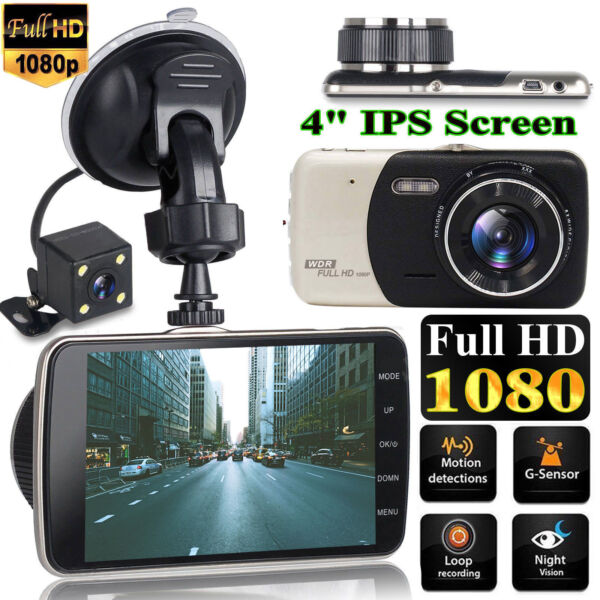 4'' Dual Lens Camera HD 1080P Car DVR Vehicle Video Dash Cam Recorder G-Sensor 1