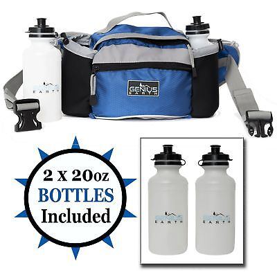GENIUS EARTH Travel / Hiking Fanny Pack with Water Bottle Holder, Set of 2 BO... ()