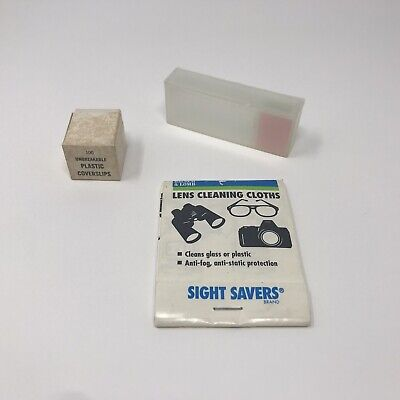 Lot Of Microscope Slides With Case Coverslips And Lens Cleaning Cloth