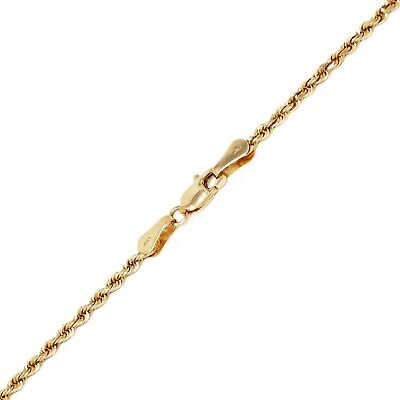 """14k Yellow Gold Solid Diamond Cut Rope Chain Necklace 24"""" 2mm 8.3 grams"""