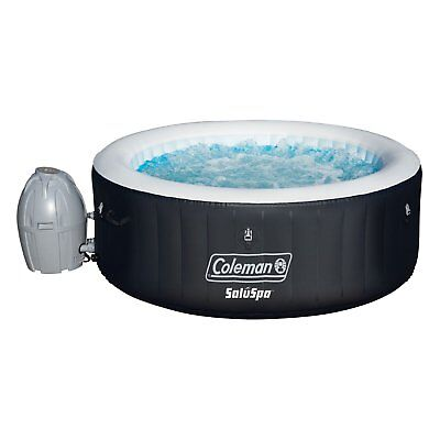 Coleman SaluSpa Portable 4 Person Outdoor Inflatable Hot Tub Spa w/ Pump, Black
