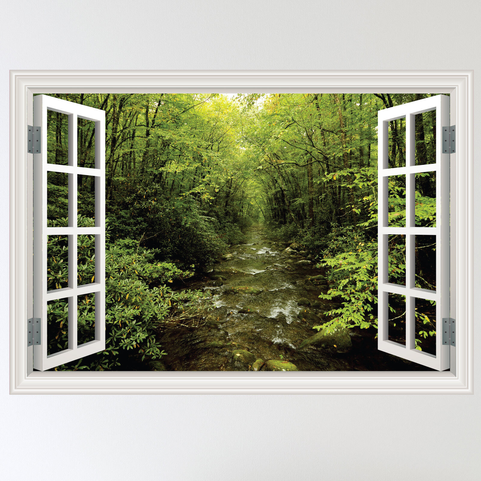 Full colour forest woodland river window scene wall for Wall scenes