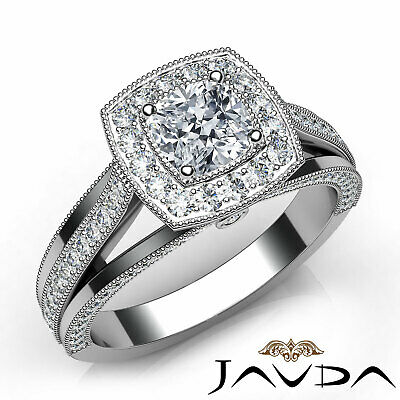 Milgrain Halo Bezel Cushion Diamond Engagement Split Shank Ring GIA H VS2 1.62Ct