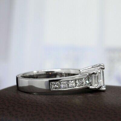 3.00 Ctw 3 Stone Emerald Cut Engagement Diamond Ring F, VVS1 GIA 14K White Gold 3