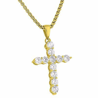 18K Gold Plated Cross Pendant Solitaire Simulated Diamonds Free 24 Inch Necklace