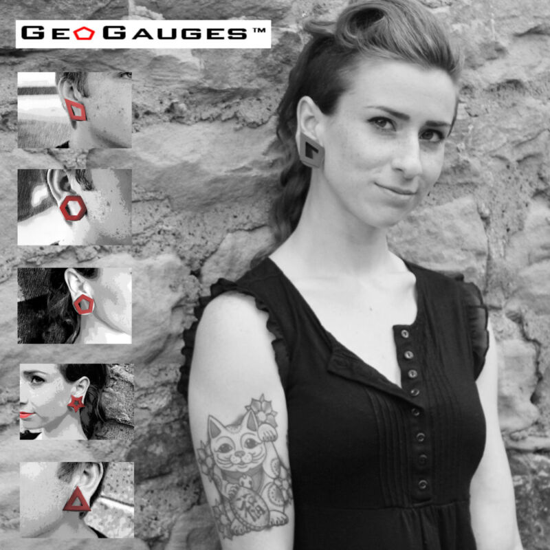 35 Pair Wholesale Lot of Black GeoGauges Brand Silicone Tunnels Ear Plugs Gauges