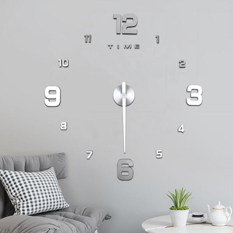 Wand Uhr Wohnzimmer Wanduhr Wandtattoo Aufkleber Deko XXL 3D-Design Silbern NEU