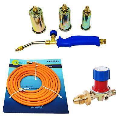 Propane Butane Gas Torch Burner Hose Regulator Blow Roofers Plumbers Kit 5 Metre