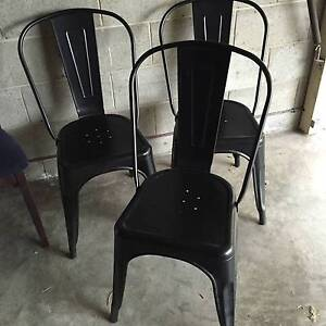 3 x Black metal tolix style cafe chairs New Farm Brisbane North East Preview