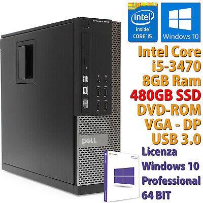 PC COMPUTER DESKTOP FISSO DELL RICONDIZIONATO CORE i5 RAM 8GB SSD 480GB WIN 10