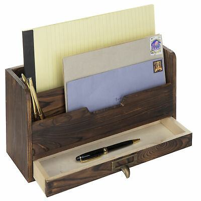 3-tier Coffee Brown Wood Office Desk File Organizer Mail Sorter Tray Holder