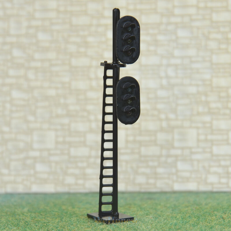 2 pcs HO Scale 1:87 LEDs Made dual heads Railway Signals 3 over 3 G/Y/R G/Y/R #N