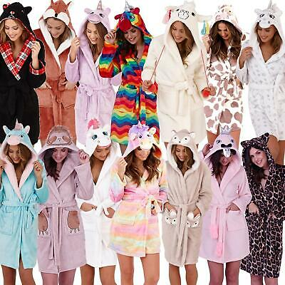Womens Waffle Gown Ladies Soft Fluffy Sherpa Fleece Novelty Hooded Dressing Gown