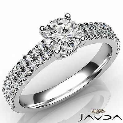 2 Row Shank Round Diamond Engagement Double Prong Set Ring GIA F Color SI1 1Ct