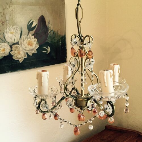 French Mid Century ANTIQUE VINTAGE Chandelier light Decor country style
