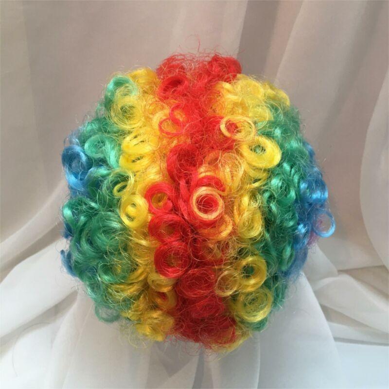 "12"" Curly Rainbow Clown Doll Wig Reborn OOAK BJD Bisque Repair"