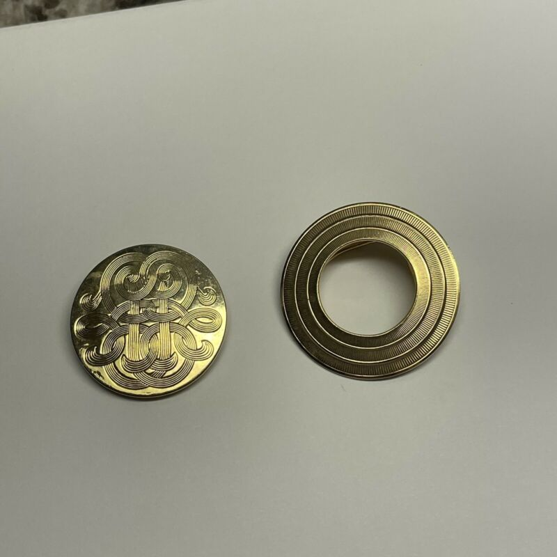 Lot Of 2 Vintage - Modern Scarf Clips Gold Tone