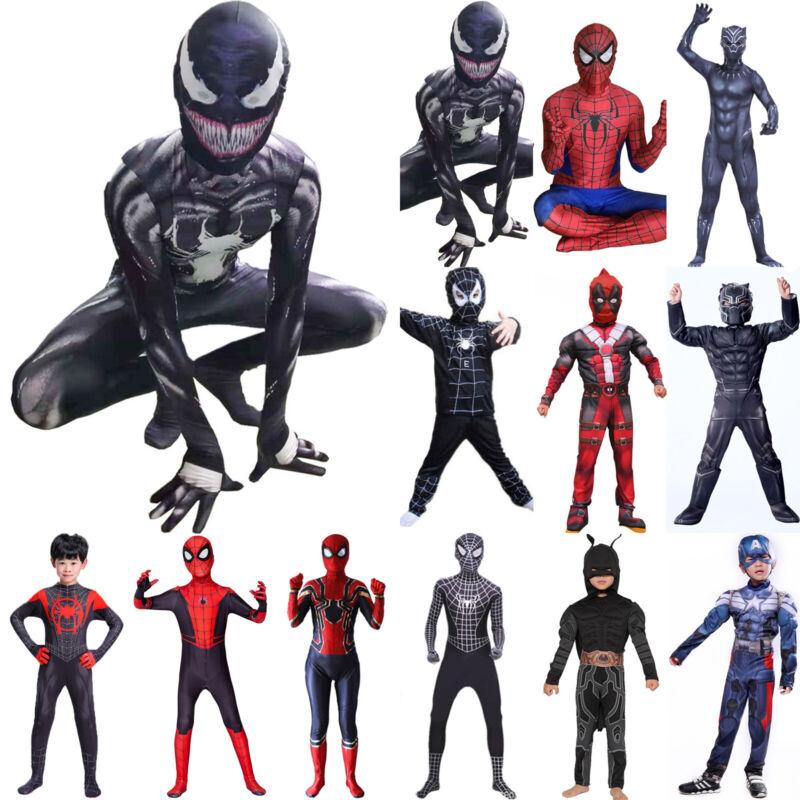 Boys Kids Venom Spiderman Jumpsuit Costume Superhero Cosplay