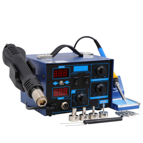 2 in 1 Soldering Iron Rework Stations SMD Hot Air Gun Desoldering Welder 862D+ #