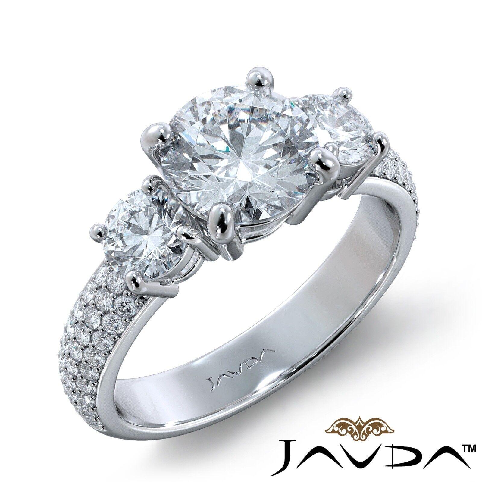 2.71ct 3 Stone Sidestone Pave Round Diamond Engagement Ring GIA E-SI1 White Gold